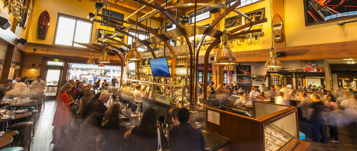 LAKE BUENA VISTA, Fla. — The BOATHOUSE: Great Food, Waterfront Dining, Dream Boats, a new upscale, waterfront dining experience in the heart of Downtown Disney offering guests a gourmet menu featuring steaks, chops and fresh seafood, opened today. The new restaurant features spectacular floating artwork — dream boats from the 30's, 40's & 50's — and a unique opportunity for guests to take a Captain-guided tour aboard amphibious autos called Amphicars on Lake Buena Vista.