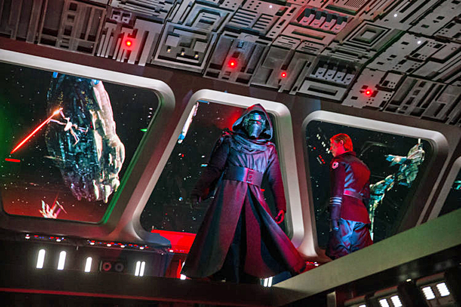 Guests come face to face with First Order Supreme Leader Kylo Ren as they stumble into the bridge of a Star Destroyer in Star Wars: Rise of the Resistance, the groundbreaking new attraction opening Dec. 5, 2019, inside Star Wars: Galaxy's Edge at Disney's Hollywood Studios in Florida and Jan. 17, 2020, at Disneyland Park in California