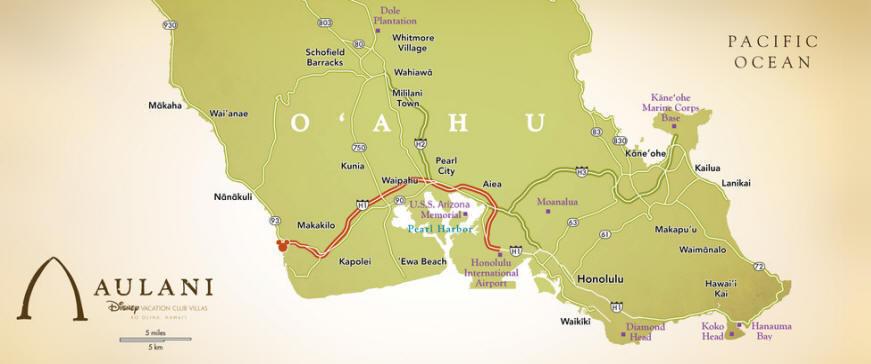 Aulani A Disney Resort and Spa - Map of O'ahu