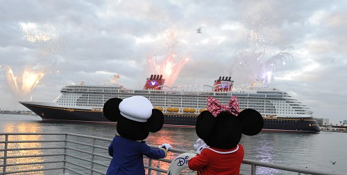 Mickey Mouse and Minnie Mouse welcome the Disney Dream, Disney Cruise Line's newest ship, as she arrives Jan. 4, 2011 for the first time to her home port of Port Canaveral, Fla.