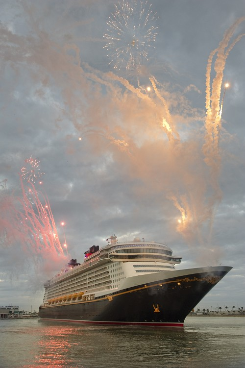 Fireworks for the Disney Dream, Disney Cruise Line's newest ship, arrives Jan. 4, 2011 for the first time to her home port of Port Canaveral, Fla.
