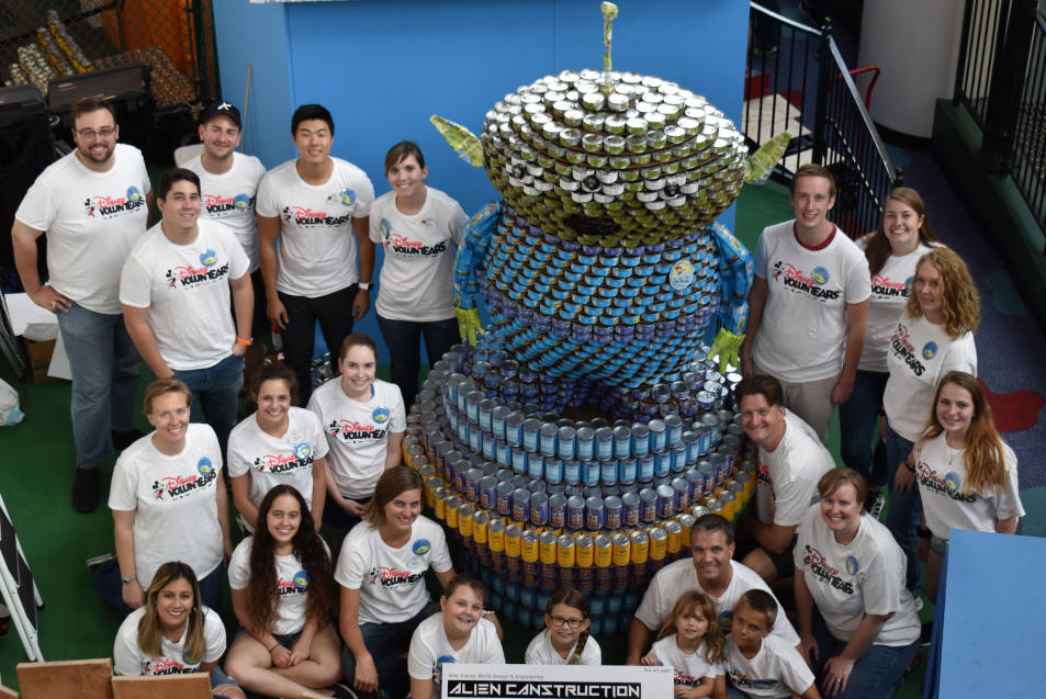 Disney VoluntEARS Give Out-of-this-World Effort in 'CANstruction' of Toy Story Land-inspired sculpture to Benefit Second Harvest Food Bank