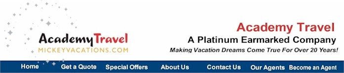 Academy Travel - Authorized Disney Vacation Planner,  Acaemy Travel has been designated as a Platinum Earmarked Travel Agency specializing in Walt Disney World, Disneyland Resort, Disney Cruise Line, Adventures by Disney and Aulani, a Disney Resort & Spa Vacations