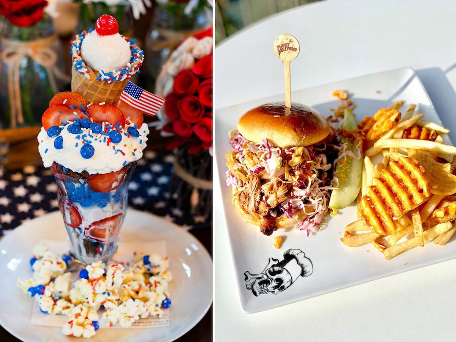 Milkshake from Wolfgang Puck Bar & Grill and Championship Pulled Pork Sandwich from Planet Hollywood