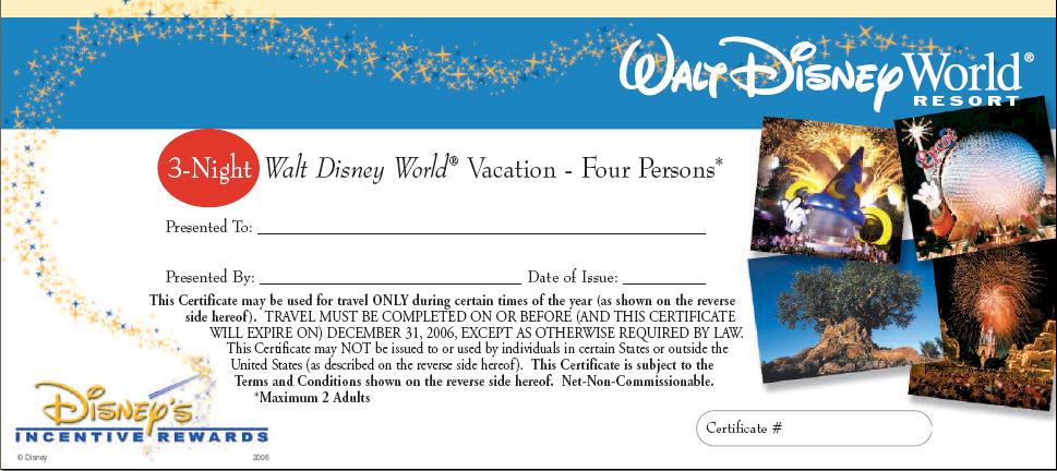 Disney Vacation Planner Incentive Rewards